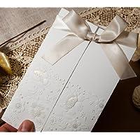 25 inviti per matrimonio con tripla piega, stile Vintage con fiocco