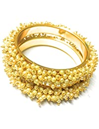 OranGey Fashion - Beautiful Traditional 1gm Gram Gold Plated Designer Bangles With Pearl For Women & Girls