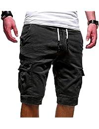 Yidarton Bermudas Hommes Ete Outdoor Cotton Casual Short Cargo Couleur Unie Lâche Pantalon Court