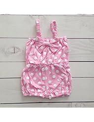 Combishort estampado en algodón, Modelo lunares rosa 0/6Meses, 1/2años, 2/3años, 6/12Meses