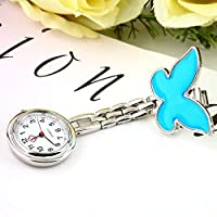 ningbao951 1PCS Pocket Medical Nurse Fob Watch Women Dress Watches 4 Colors Clip-on Pendant Hanging Quartz Clock Butterfly Shape
