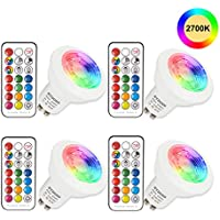 Bombilla LED Colores GU10 3W RGB LED Foco Multicolor Bombillas con mando, 12 colores + Calido Blanca 2700K, 200lm, AC85-265V, para Aplique, Lámpara de riel, Luz de techo empotrada (Paquete de 4)