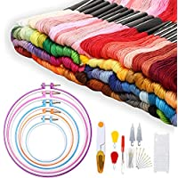 Adkwse Stickerei Set, Kreuzstich Set mit 100 Farbfäden,5 Stück Stickrahmen und 30 Stück Nadeln Set etc.
