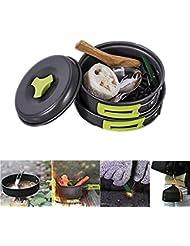 Kit de camping utensilios de Cocina Para Acampar 12 habitaciones Set de Cocina Para Acampada Batería de Cocina de Acero Inoxidable PluieSoleil (Sin Supervivencia pulsera)