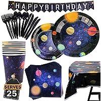 177 Artículos con Diseño del Espacio y Galaxia-Desechables para Fiesta y Celebración de Cumpleaños Espacial – Vasos, Platos, Servilletas, Cubiertos y más–Accesorios de Vajilla y Decoración–25 Personas