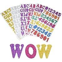 SMUER Glitter Letras Alfabeto Espuma Pegatinas, Colorful Auto-Adhesivos Número de Letras Pegatinas para DIY Decoración Artificial, 6Hojas, Total 248Unidades