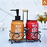 Archies Bathroom Accessories Essential Kit Orange and Red Ceramic Set of 2.