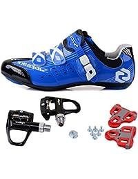 TXJ Rennradschuhe Fahrradschuhe Radsportschuhe mit Klickpedale (Wählen Sie eine Größe mehr als üblich)