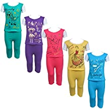 Eazy Trendz Baby Girls Gorgeouse Printed Half Sleeve Top & Bottom Tshirt and Pant Super Set of 5