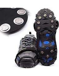 Steigeisen Schuhspikes mit 10 Noppen,Das einzig Innovative Design bei Amazon,Ice Klampen,Eisspikes für Den Stiefel,Schuhkralle.