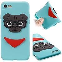 CMAOS Funda iPhone 7/8, Silicona Cover Carcasa iPhone 7/8, Fundas Carcasas Case Caso para Apple iPhone 7 / Apple iPhone 8, Cachorro de perro de dibujos animados patrón personalizado 3D, sonrisa, Boomerang, animal, [Ultra-Delgado] [Anti-Rasguño] [Anti-Golpes] [Anti-Estático] [Resistente Huellas Dactilares] [Totalmente Protectora Caso de Plástico] Case para móvil de TPU silicona, [Funda + 1 Pack Vidrio Templado] Protector de Pantalla 9H Dureza - (Cielo azul)