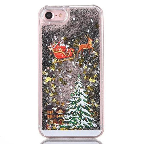 iPhone 7 4.7 inches custodia KSHOP plastica PC hard cover, sabbie mobili liquido con Natale design a tema, Bling bling Sottile Anti-graffio Resistente Cover iPhone 7 4.7 inches - Argento, Sequins Star black