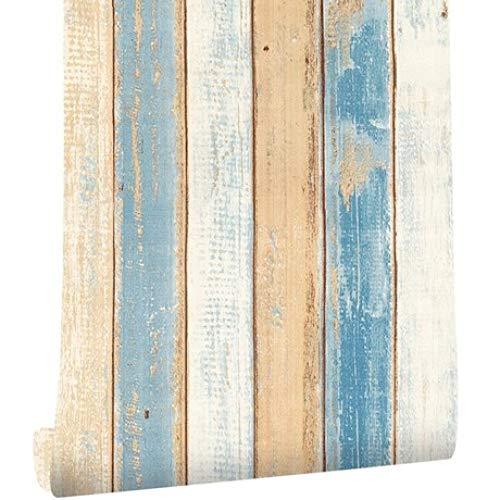 Circlefly Hochwertige selbstklebende Tapete Nostalgischer mediterraner Stil Blauer vertikaler Holzmaserung dicker Wandaufklebe