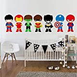 Super Héros avec Masque Sticker Mural Cartoon Batman Art Sticker Mural DIY Papier Peint pour Enfants Garçons Chambre Home Decor