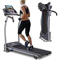 Preisvergleich für Kinetic Sports Laufband 1100 Watt leiser Elektromotor 12 Pogramme, Geh- und Lauftraining, Tablethalterung, stufenlos einstellbar bis 12 km/h, klappbar