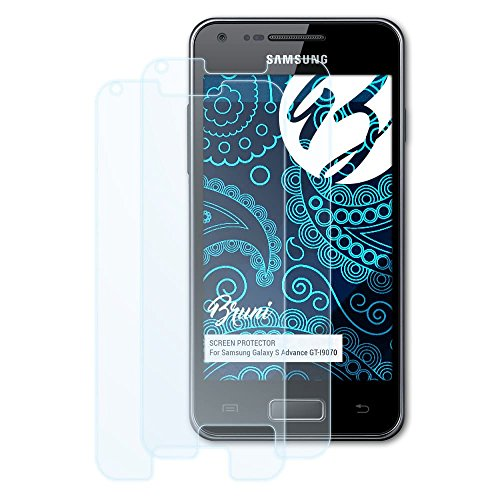 Bruni Schutzfolie kompatibel mit Samsung Galaxy S Advance GT-I9070 Folie, glasklare Displayschutzfolie (2X) (Samsung Galaxy Advance Handy)