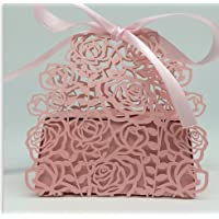 Roses Flowers Laser Cut Favor Candy Box Bomboniere with Ribbons Bridal Shower Wedding Party Favors (Pink) by MarJunSep