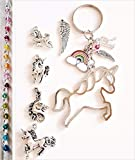 Handmade Personalised Improved Unicorn Initial Rainbow Keyring Bag Charm with Genuine Crystal