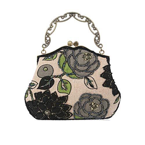 Reines Antike handgemachte Korn-Gestickte Leinen eingewickelt Handtasche Old Shanghai Art-Dame Abendessen Clutch Purse -