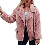 AMUSTER Damen Plüschjacke Winter Jacke Mantel Steppjacke Outwear Reißverschluss Kurz Warm Winterjacke Outwear Cardigan Langarm Teddy-Fleece Parka