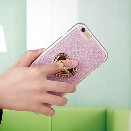 """Etsue Glitter Silikon Schutzhülle für iPhone 7 4.7"""" 2016 TPU Case mit Metall Ring Ständer, Bling Glitter TPU Bumper Case Sparkles Glänzend Glitzer Silikon Crystal Case Soft Rückseite Cover Shinning Ba Glitter mit Ständer,Pink"""