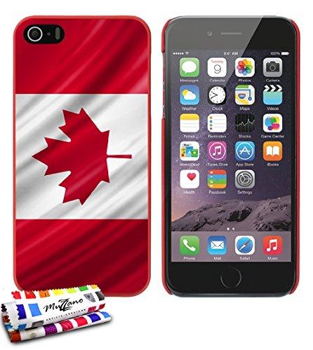 Ultraflache weiche Schutzhülle APPLE IPHONE 5 [Kanada Flagge] [Rot] von MUZZANO + STIFT und MICROFASERTUCH MUZZANO® GRATIS - Das ULTIMATIVE, ELEGANTE UND LANGLEBIGE Schutz-Case für Ihr APPLE IPHONE 5 Rot