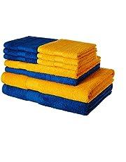 Solimo 100% Cotton 10 Piece Towel Set, 500 GSM (Iris Blue and Sunshine Yellow)