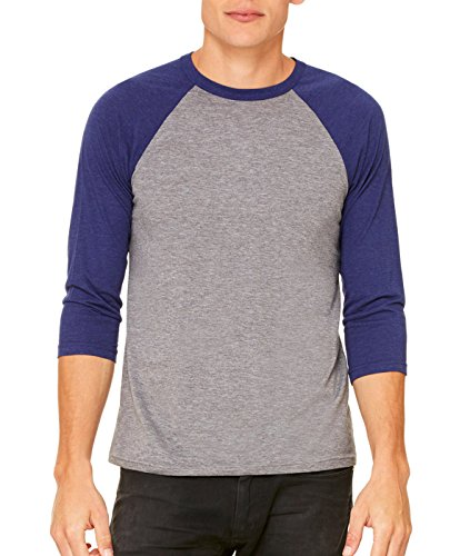 Delifhted Adult 3/4 Sleeve Blended Baseball Tee (3/4 Tee Herren Sleeve Baseball)