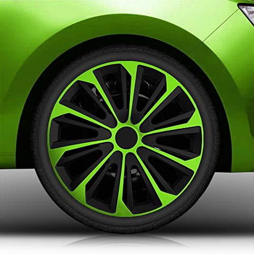 Autoteppich Stylers Aktion Bundle 15 Zoll Radkappen/Radzierblenden Nr.006 (Farbe Schwarz-Grün), passend für Fast alle Fahrzeugtypen (universal)