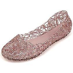 VEIIYOUNG Mujer Verano Transpirable Zapatos de Gelatina Sandalias de Jalea Bailarinas de Nido de Pájaro Sandalias de Playa Casual Zapatos de Lluvia de Plano,Rosa