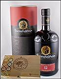 Bunnahabhain 12 Jahre Islay Single Malt Whisky mit 45 DreiMeister Edel Schokoladen im Holzkistchen, kostenloser Versand