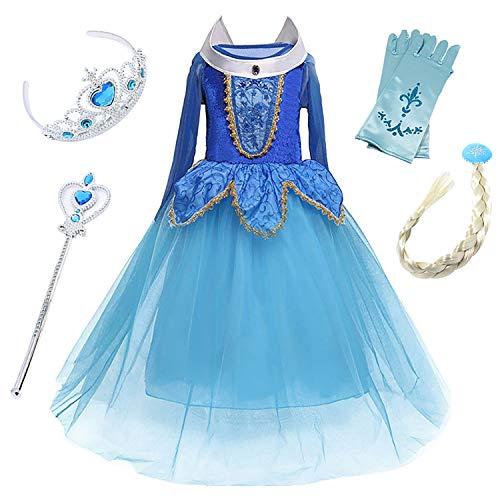 en Prinzessin Kleid Kinder Aurora Kostüm Kinder Karneval Kostüm Cosplay Kleid Dornröschen Kleid Blau Pink Langarm Fasching Verkleidung Party Weihnachten Halloween Fest ()