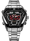 Alienwork DualTime LED Analogue-Digital Watch Multi-function Wristwatch Stainless Steel black silver OS.WH-1102-2-R1