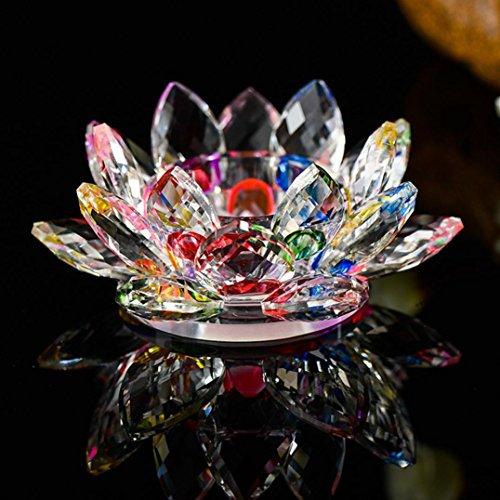 Mamum Lotus Blumen-Teelicht aus Kristallglas mit 7Farben, Kristallglas, Lotus-Blume, Kerzen- / Teelicht-Halter, buddhistischer Kerzen-Halter, B, - Kerze-halter-wand-dekoration