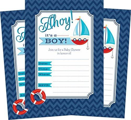 Oh My Baby Dusche Ahoy Nautical Themed Baby Dusche Einladungen und 24Umschlägen IT 'S A Boy–24