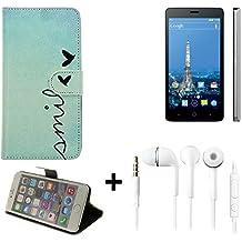360° Funda Smartphone para ZTE Blade V220, 'smile' + auriculares | Wallet case flip cover caja bolsa Caso Monedero BookStyle - K-S-Trade (TM)
