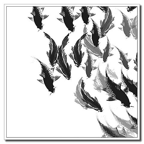 Haehne Modern Lucky Fish Toiles en coton Impression Oeuvres Peintures à l'huile Photo Imprimé sur toile Art mural pour les décorations maison à la chamber, 40 *40cm(16* 16Inch),Image seulement
