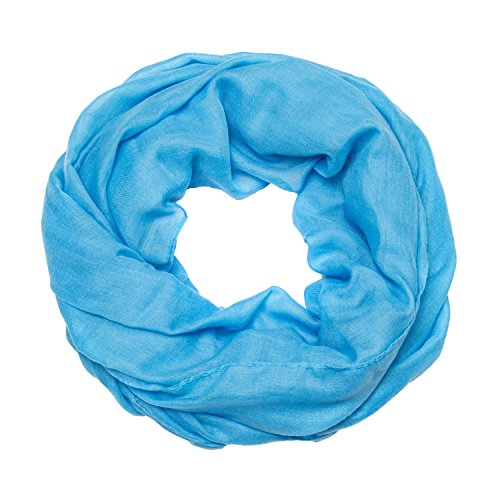 ManuMar Loop-Schal einfarbig | Hals-Tuch in Uni-Farben | einfarbig Hell-Blau als perfektes Sommer-Accessoire | klassischer Damen-Schal - Das ideale Geschenk für Frauen (Polyester 80% Viskose 20%)