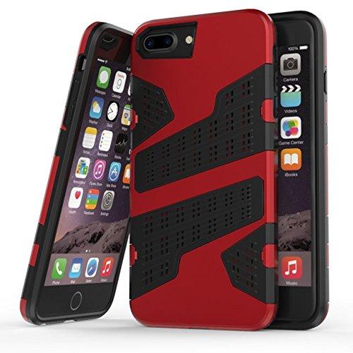 """iPhone 6 Plus 6S Plus Hülle,iPhone 7 Plus Hülle,Lantier 2 in 1 Kombi Rüstung mit Luftloch Design Stoßfestes leichtes Defender SchutzHülle für iPhone 6 Plus/6S Plus/7 Plus 5.5"""" Rot Red"""
