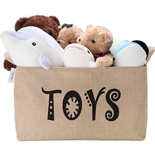 Hinwo 63L Große Kapazität Ablagekorb Korb Brust Organizer mit Griffen für Kinder Spielzeug Wäsche Kleidung Kindergarten Spielzimmer und Regale, 22x15x12