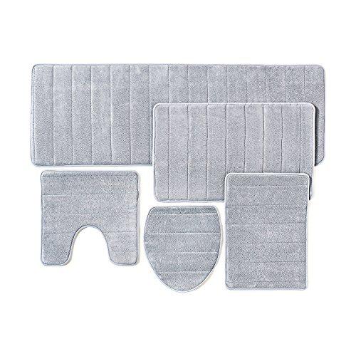 Badezimmer-Teppich, aus Memory-Schaum mit rutschfester Unterseite, 5 Stück (Grau)