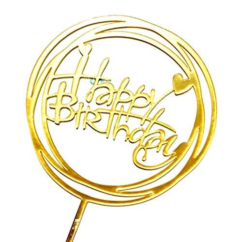 Jinzuke Alles Gute zum Geburtstag Acryl-Kuchen-Deckel Sticks Picks Kuchen-Dekoration Weihnachten Neujahr Party Supplies Dessert Dekor