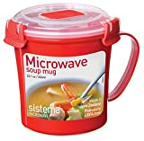 from Sistema Sistema Microwave Soup Mug, 656 ml - Red/Clear Model 1107
