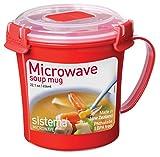 Sistema Microwave Soup Mug, 656 ml - Red/Clear from Sistema