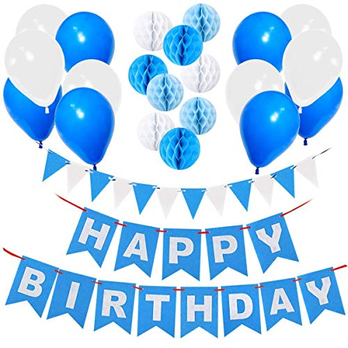 Gyvazla Decoración Cumpleaños, Happy Birthday Pancarta Azul, 9 Pompón Bola de Honeycomb, 12pcs Globos Perlados, 12pcs Banner Triangle Flags - Party Decoration Supplies para Chicas, Chicos y Adultos