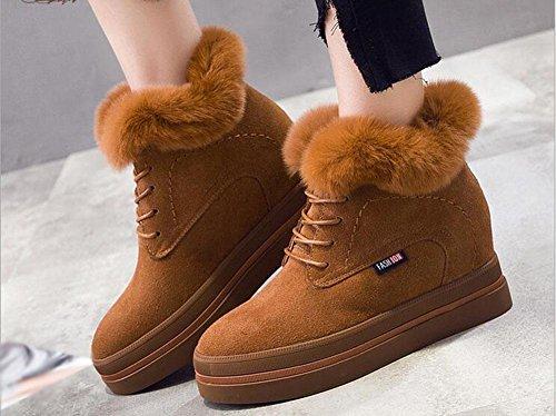 KUKI Stivali da donna, scarpe da donna, aumentati negli stivali da neve, oltre a cashmere, caldo, fondo spesso, pizzo, stivali casual caramel color