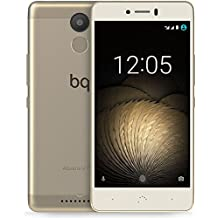 BQ Aquaris U Plus - Smartphone de 5'' (Bluetooth, Qualcomm Snapdragon 430 Octa Core, memoria de 16 GB, 2 GB RAM, cámara 16 MP, multitáctil, Android 6.0.1 Marshmallow) blanco y dorado