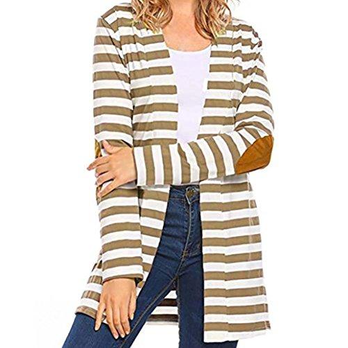 Kolylong® Damen-gestreifte Jacke Frauen Schwarz und weiße Streifen Mantel Frauen-beiläufige lange Hülsen-gestreifte Wolljacke-Patchwork-Outwear (Khaki, L) (Herren-khaki Gestreifte)
