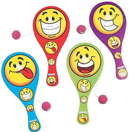 6-x-Paddleball-Smiley-Geschicklichkeitsspiel-Ballspiel-Kindergeburtstag-Mitgebsel-Geburtstag