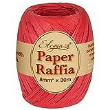 Eleganza 8 mm x 30 m Papierbast für verschiedenste Bastelprojekte und Geschenkverpackungen, No.16 Rot